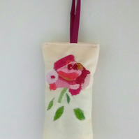 Embroidered Linen Rose Lavender Bag