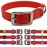 Red 1 Inch Wide Vegan Leather & Stainless Steel Dog Collar