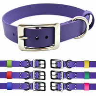 Purple 1 Inch Wide Vegan Leather & Stainless Steel Dog Collar