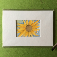 Sunflower - miniature flower painting.