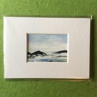 Rocky coast - original acrylic painting. Miniature.