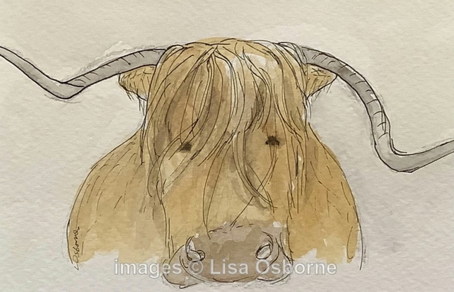 Highland cow - original watercolour painting. Farm animals.