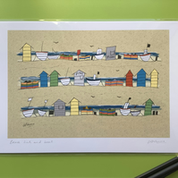 A4 signed print - Beach Huts and Boats