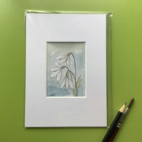 Snowdrops. Original watercolour, pen and ink. Minature ACEO. Flower
