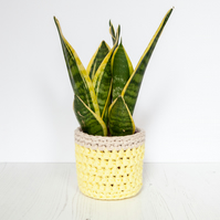 Small plant pot cover in yellow & cream. Made from recycled cotton.