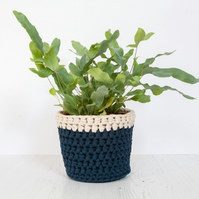 Medium plant pot cover in navy blue & cream. Made from recycled cotton.