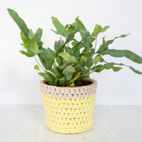 Medium plant pot cover in yellow & cream. Made from recycled cotton.