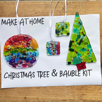 Make At Home Glass Fusing Christmas Decoration Kit DIY Bauble and Christmas Tree