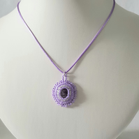 Sterling Silver Fluorite Beaded Pendant Necklace