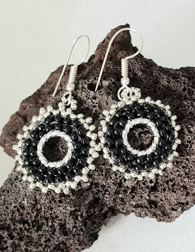 Monochrome Circle  Twisted Bead Earrings