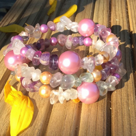Fluorite and Shell Pearl Memory Wire Bracelet from the Country Garden Collection