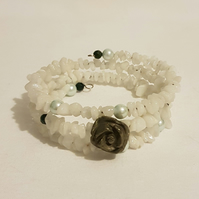 Agate and Pyrite Flower Memory Wire Bracelet