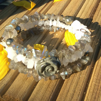 Labradorite , Rainbow Moonstone and Pyrite Memory Wire Bracelet