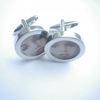 Marilyn Monroe cufflinks highly polished silver finish, free UK shipping