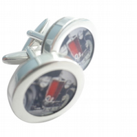 1949 MGTC cufflinks, highly polished, swivel action, free UK shipping