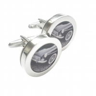 1964 MGB cufflinks, highly polished swivel shank alloy, free UK shipping