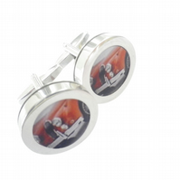 1959 Jaguar XK140 cufflinks, iconic British sports car, free UK shipping..