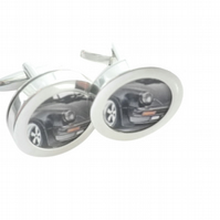 Black Porsche 911 cufflinks, superb iconic sports car, free UK shipping.........