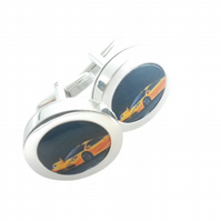 Yellow Mclaren F1 supercar cufflinks, rare and exotic, free UK shipping..