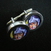 American Football cufflinks, high polish silver finish, free UK shipping
