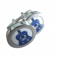 Blue painted acoustic guitar cufflinks, really authentic image, great gift.