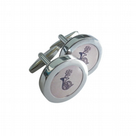 French Horn cufflinks, classy elegant gift, free UK shipping