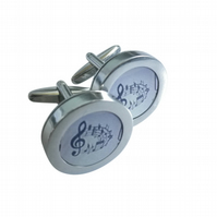 Music score cufflinks, great gift for a music enthusiast, free UK shipping