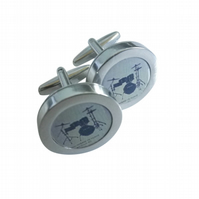 Blue Drumkit cufflinks, elegant rendition of the heart of all music, great gift