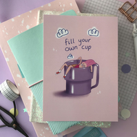 A6 Lavender Kawaii Pastel inspirational postcard - Fill Your Own Cup