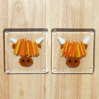 Set of 2 Highland Cow glass coasters