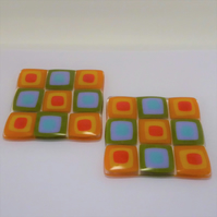 Retro square on square glass coasters, set of two