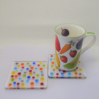 Dotty glass coasters, set of two