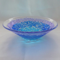 Textured blue fused glass bowl