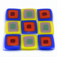 Blue and yellow retro glass coaster