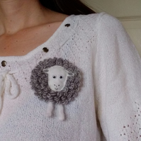 Herdwick sheep brooch, farm animal, gift for her