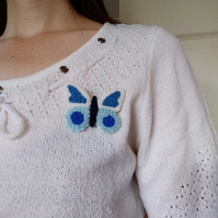 Blue butterfly brooch, nature gift