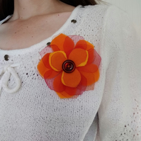 Orange flower brooch, gift for gardener, gift for her, plant lovers gift