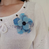 Blue flower brooch, wedding corsage, gift for her, gift for a gardener,