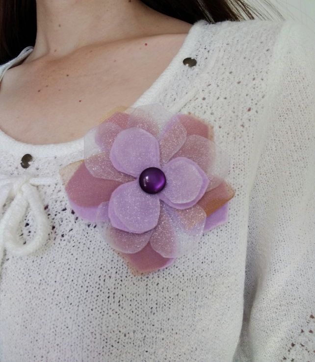 Purple flower brooch, wedding corsage, gift for her, gift for a gardener