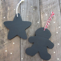 Chalkboard christmas tree decorations