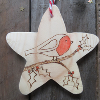 Robin and holly wooden christmas tree decoration