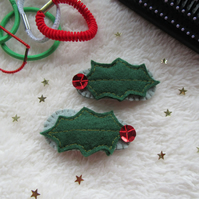 Holly hair clips, Christmas hair accessories for toddlers
