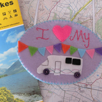 Motorhome decoration, campervan, wall hanging, embroidery art