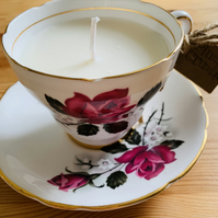 Plum Crumble Tea Cup Candle with Saucer