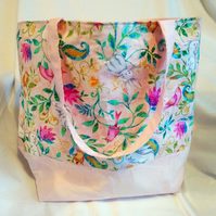 Pale Pink Rabbit and Bird Design Tote Bag