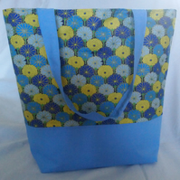 Blue, Yellow and Gold Floral Design Tote Bag