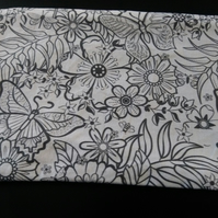 Colour in your own Butterfly and Flowers Pencil Case