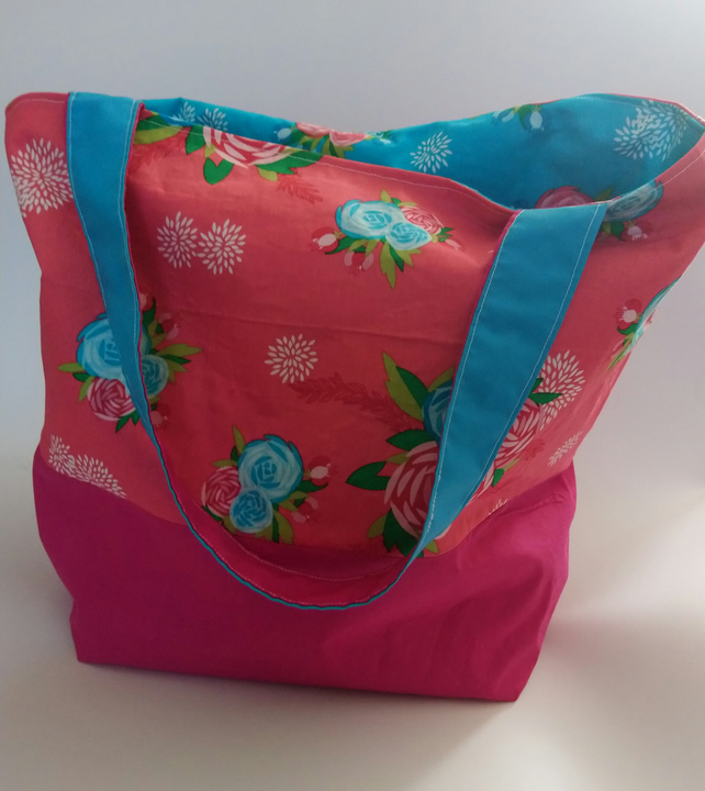 Reversible Pink and Blue Floral Tote Bag