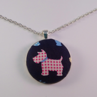 38mm Pink and White Patterned Dog Fabric Covered Button Pendant