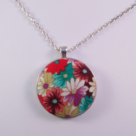 38mm Multicoloured Flowers Fabric Covered Button Pendant